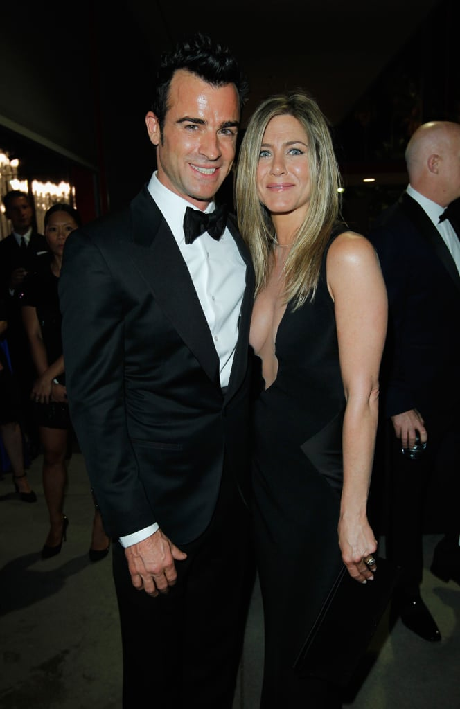 Jennifer Aniston stuck close by Justin Theroux on the red carpet at LACMA's Art and Film Gala in LA in October.