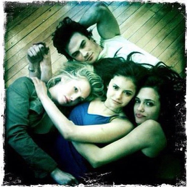 Nina Dobrev revealed she was busy shooting during Valentine's Day. She posted a photo of herself lying on the ground with Ian Somerhalder, Candice Accola, and Torrey DeVitto. Source: Instagram user nindobrevpriv