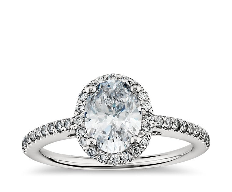 Blue Nile Oval Halo Engagement Ring ($2,050 for setting)