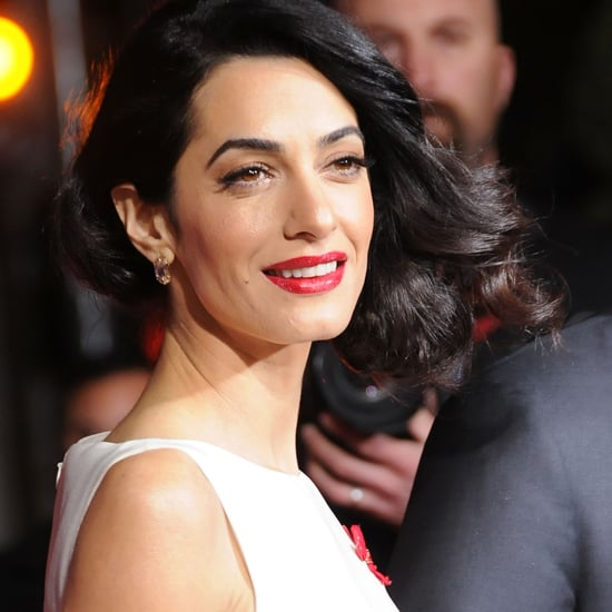 Amal Clooney Wearing Red Floral Giambattista Valli Dress