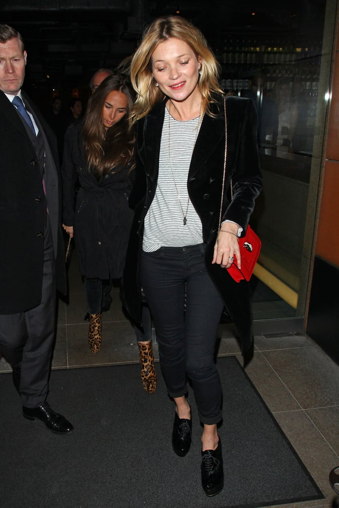 Kate Moss grabbed dinner with friends on Monday in London.