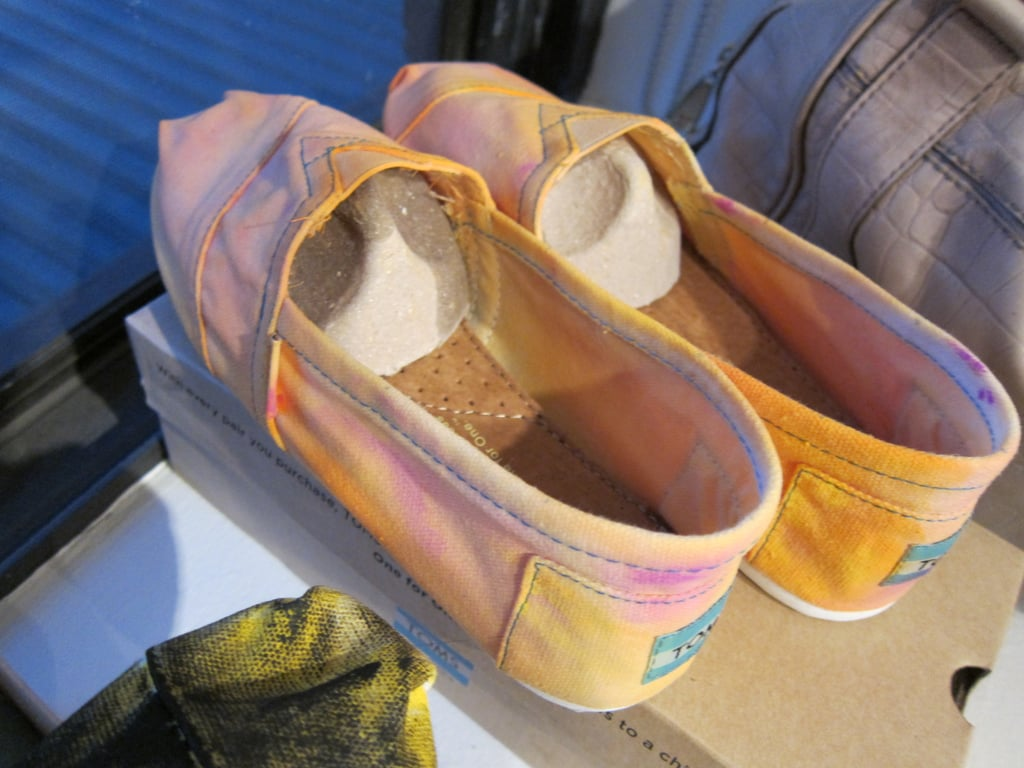 Look at Hannah's pretty orange-yellow-pink ombre-effect TOMS — they turned out great. Next stop? Wearing them at Coachella.