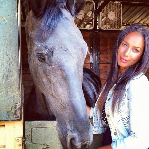 Leona Lewis struck a pose with her horse. Source: Instagram user horse_shoe_peace