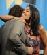 Rosario Dawson hugged her costar Diego Luna on Monday.