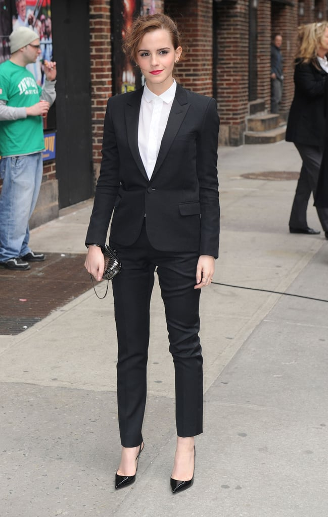 Emma Watson suited up for an appearance on The Late Show in NYC on Tuesday.