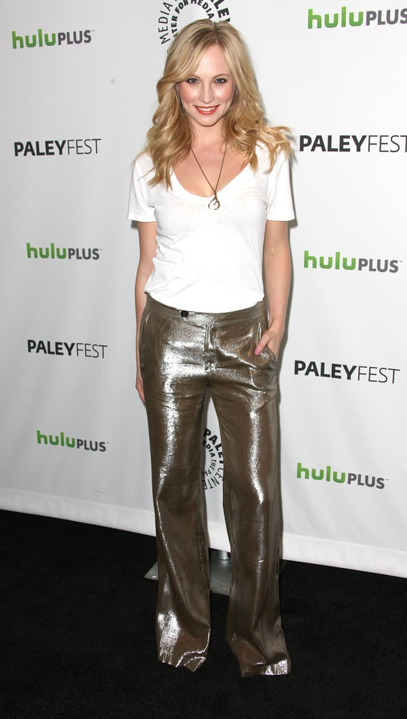 Candice Accola joined her costars in the press tent before the event.
