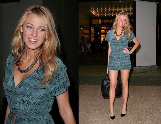 Blake Lively in Vena Cava jumper and Miu Miu bag