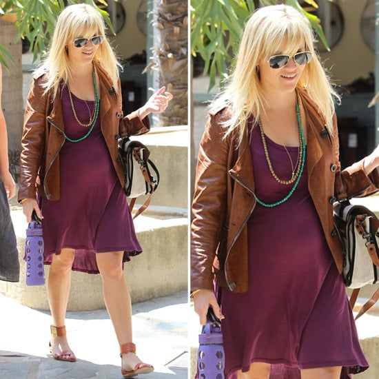 See how to snag Reese Witherspoon's playful eggplant and tan color combo.