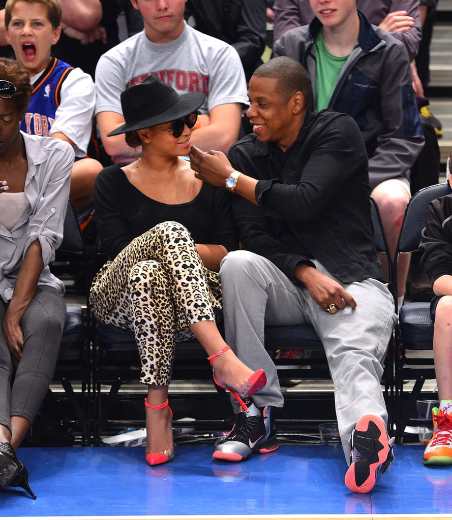 Jay-Z and Beyoncé Knowles took in a game.