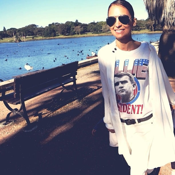 Nicole Richie showed off a white-hot look while out at Centennial Park in Sydney. Source: Instagram user nicolerichie