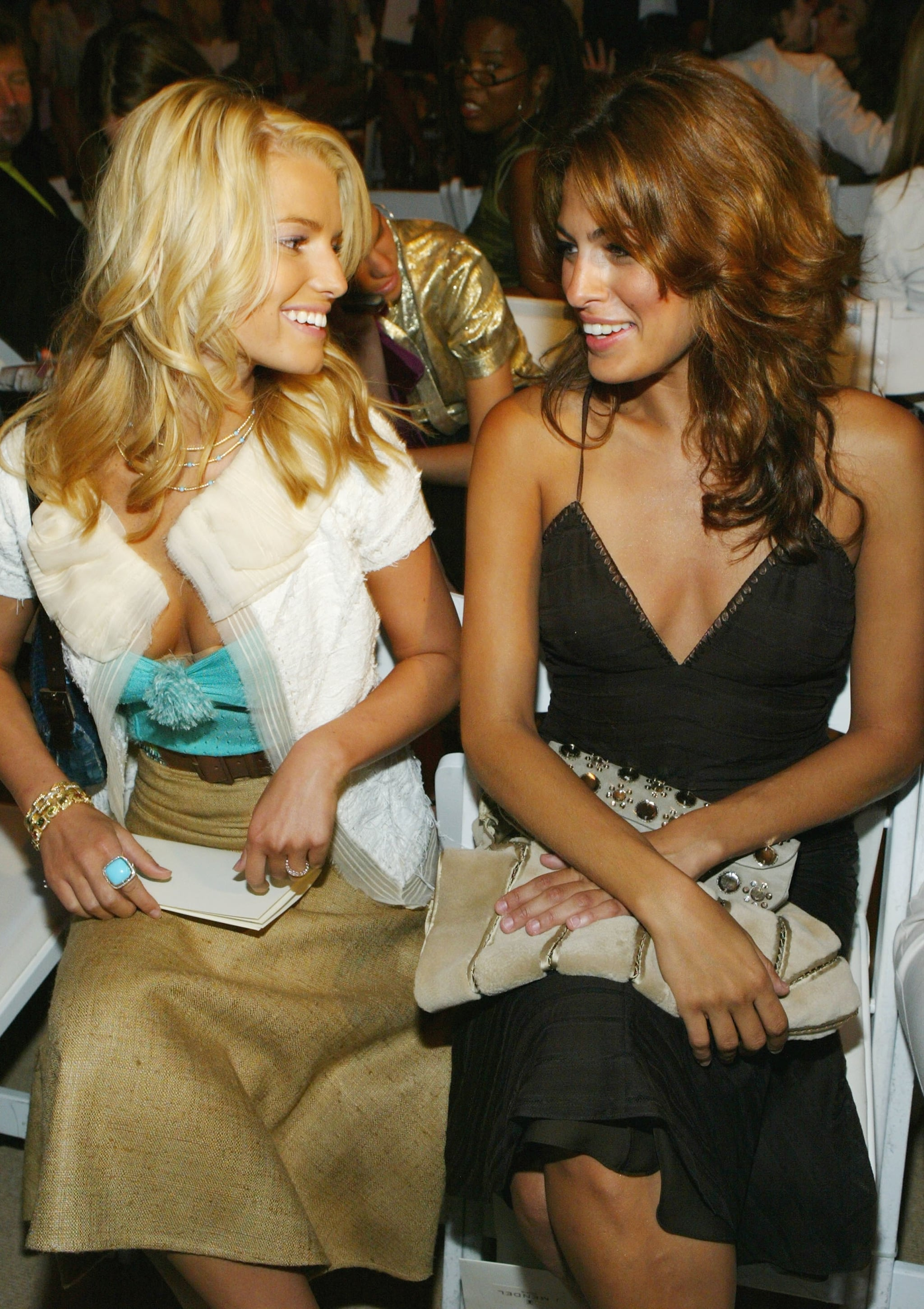 Jessica Simpson and Eva Mendes socialized while front row at J. Mendel's September 2005 show.