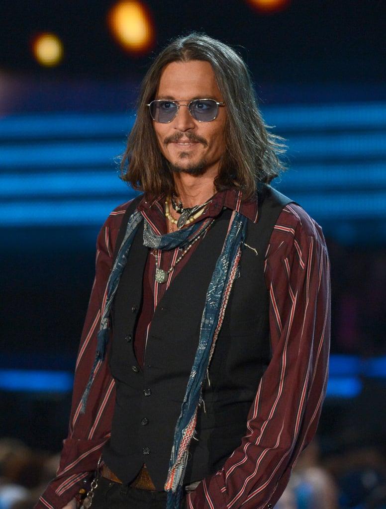 Johnny Depp sported shades.