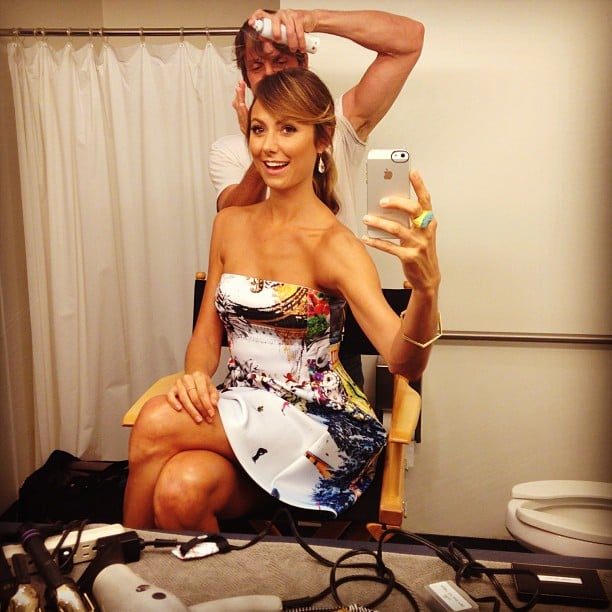 Stacy Keibler snapped a photo while getting her hair and makeup done in a bathroom. Source: Instagram user stacykeibler