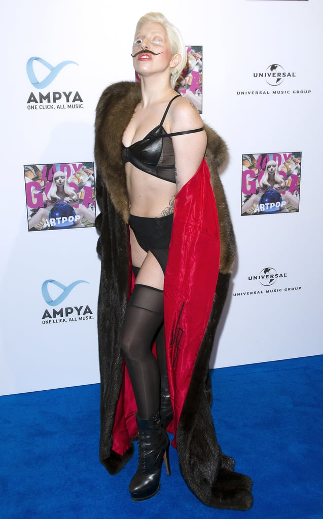 Lady Gaga in Leather Bikini Top at 2013 Artpop Party in Berlin