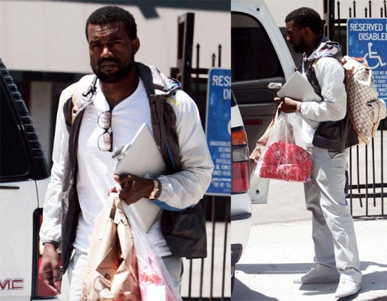 Photos of Kanye West On His Way into Recording Studio in LA