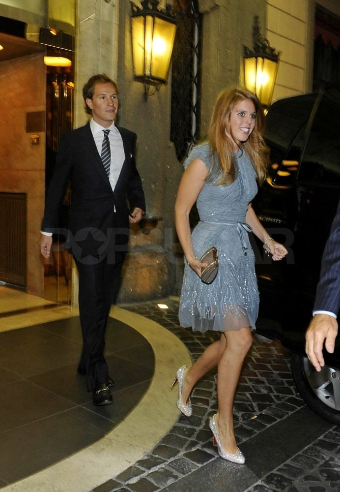 Princess Beatrice wore a sparkly dress and Christian Louboutin heels to the rehearsal dinner.