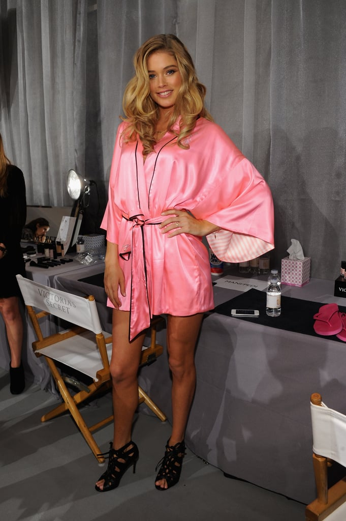 Doutzen Kroes slipped on a pair of heels before the show.