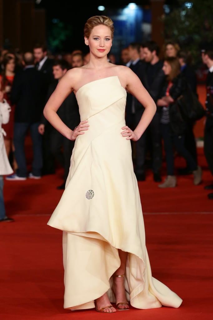 Jennifer Lawrence in White Dior Haute Couture Gown
