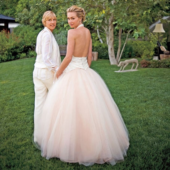 """Ellen DeGeneres and Portia de Rossi said """"I do"""" at their LA home in August 2008.  Ellen donned a white suit, while Portia showed off her back in a John Galliano dip-dyed silk faille gown."""