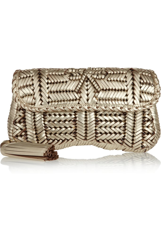 This metallic woven clutch would work just as well for a Summer wedding as it would for evening cocktails.  Anya Hindmarch Rossum Woven Leather Clutch ($550)