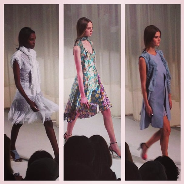 Peter Copping delivered the trademark feminine aesthetic at Nina Ricci. Our three favorite looks offered the requisite ladylike charm with floral prints, micro pleating, sheer fabrics, and ruffles. Source: Instagram user kateschweitzer