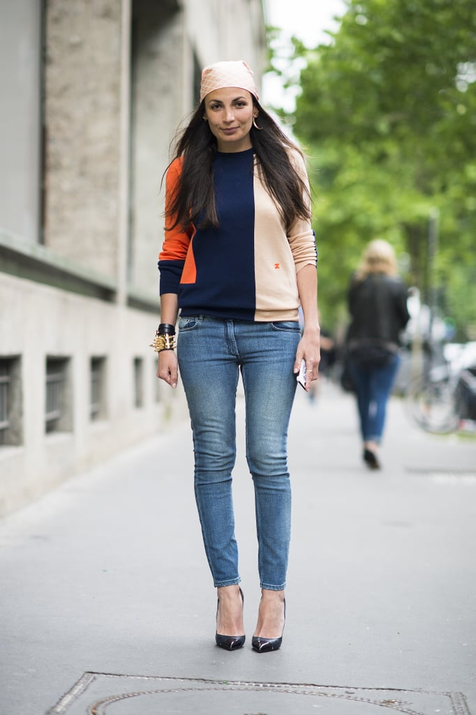 A colorblock tee and bandanna made this denim look anything but ordinary. Source: Le 21ème | Adam Katz Sinding