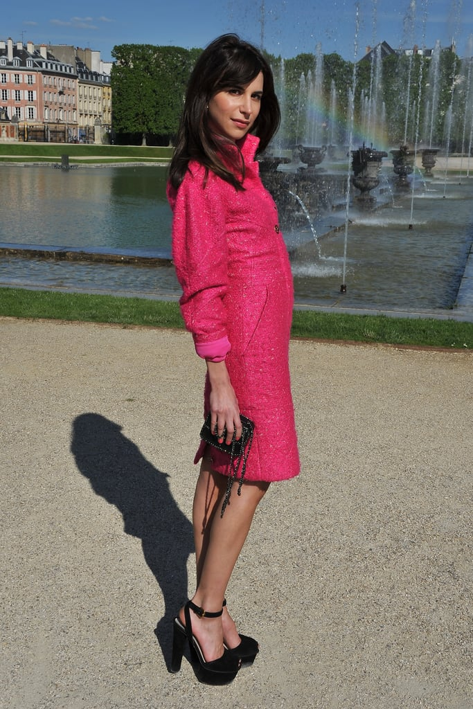 Caroline Sieber took her style quotient up a notch by wearing a hot pink Chanel coat dress — the ultimate in ladylike glamour with a fun punch of color.
