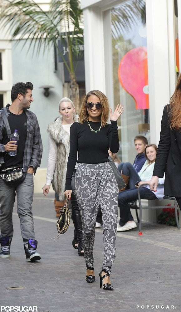 Nicole Richie wore patterned pants while she waved to fans in LA on Thursday.