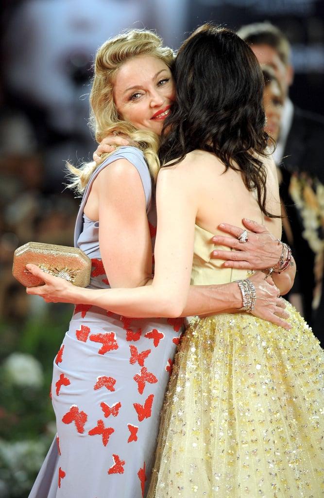 Madonna hugged W.E. actress Andrea Riseborough.