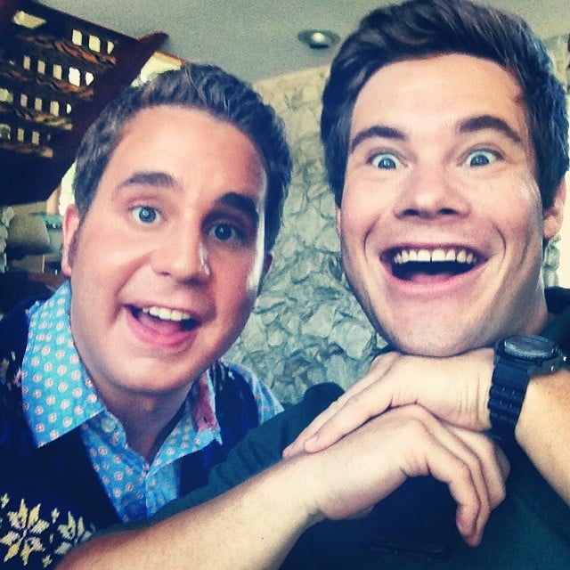 Treblemaker Platt and former Treblemaker Adam DeVine made silly faces on the set.