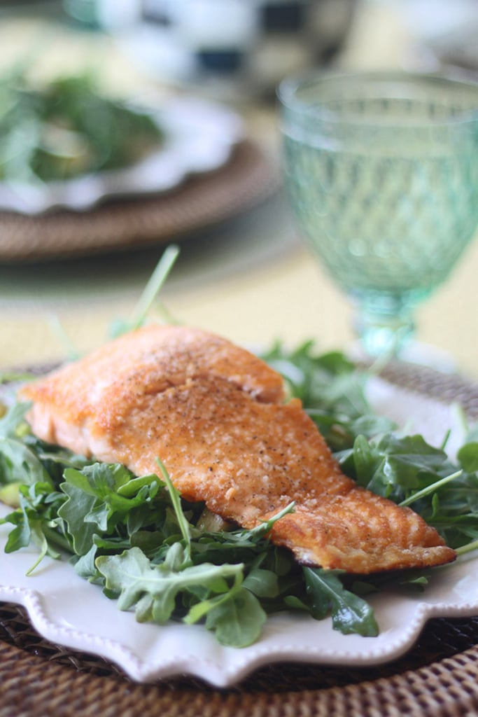 Pan-Seared Salmon With Asparagus, Arugula, and Zucchini