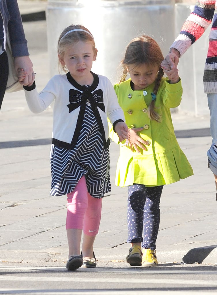 Loretta and Tabitha Broderick walked to school with their mom.