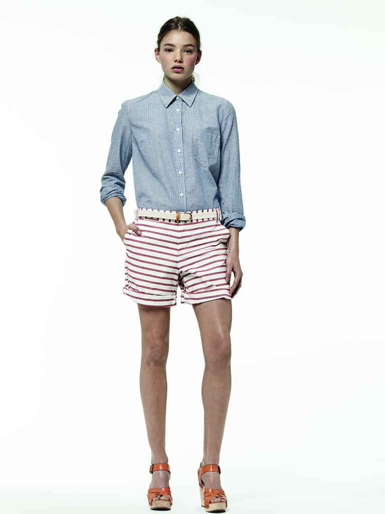 Americana has never looked cooler than right now. A pointed-collar top and striped shorts make a refreshing combo.