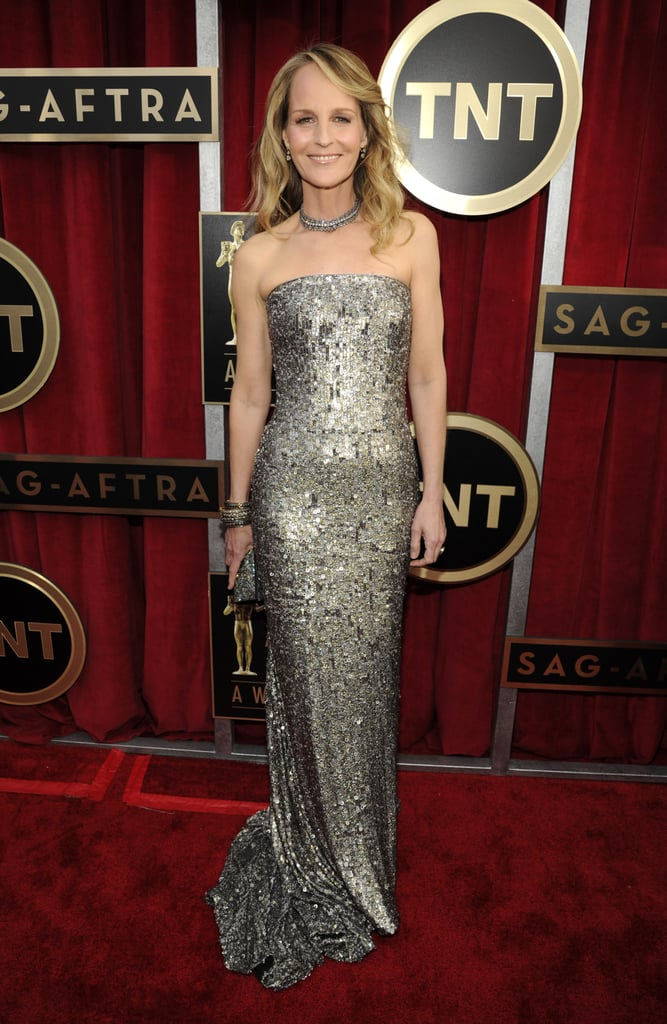 Helen Hunt sparkled in a strapless platinum beaded gown by Romona Keveza.