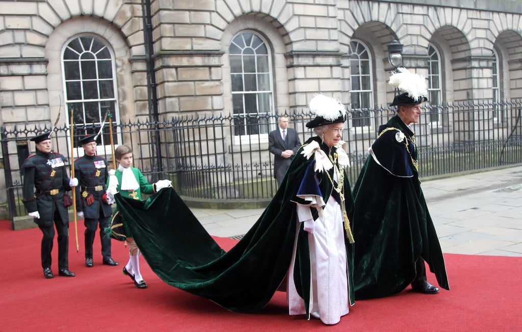 Queen Elizabeth wore a long cape for the Thistle Ceremony in Scotland.