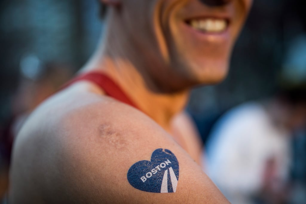 A man wore a temporary Boston heart tattoo for the big race.
