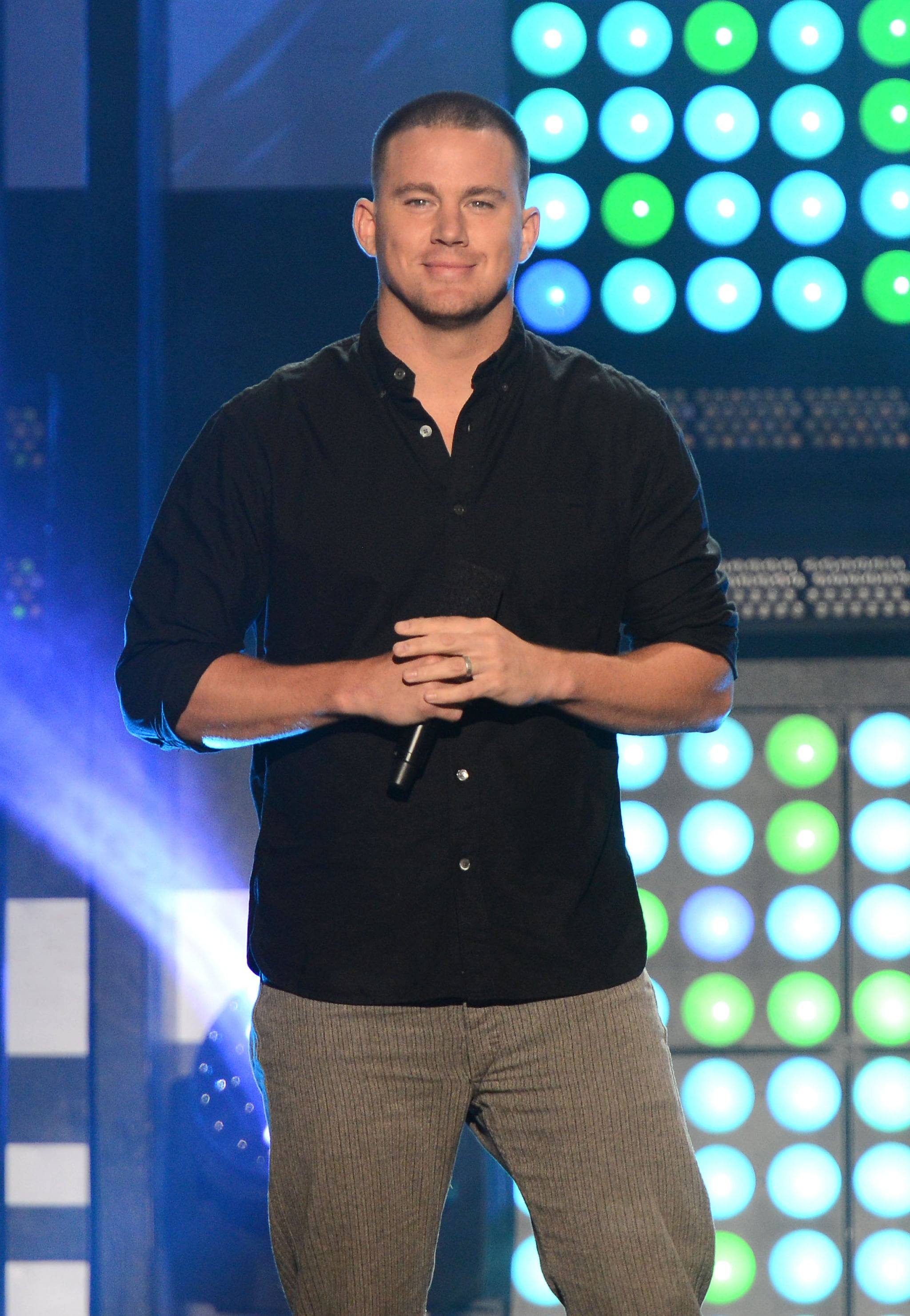 Channing Tatum smirked on stage at the MTVu Fandom Awards on Thursday.