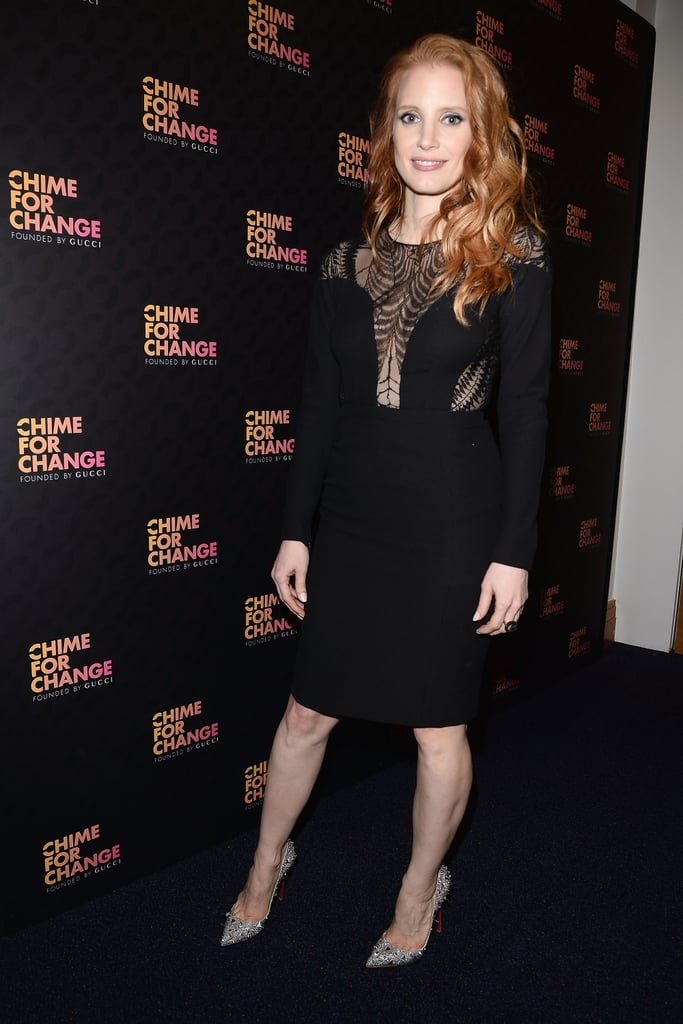 Jessica Chastain's black netted dress got a little fancier thanks to her studded Christian Louboutin pumps.