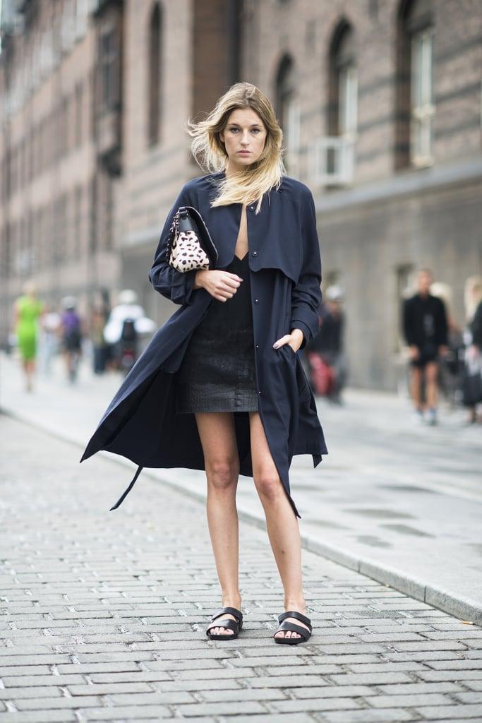 Flat sandals lend a casual counterpart to sophisticated outerwear. Source: Le 21ème | Adam Katz Sinding