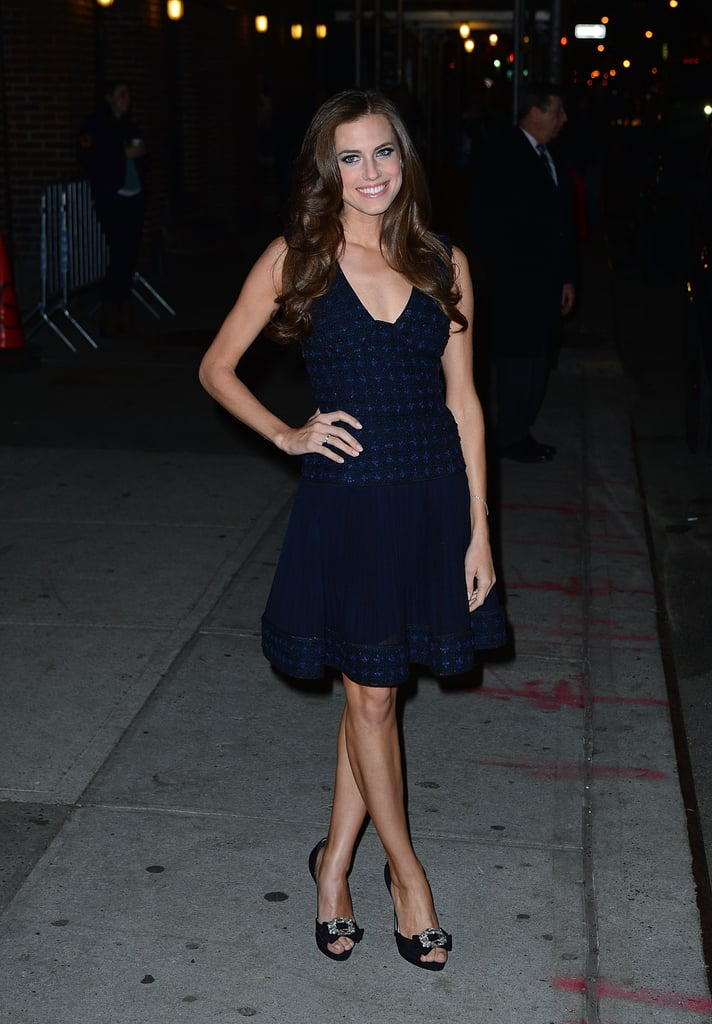 Allison Williams was equal parts flirty and poised in this fit-and-flared dress and embellished heels on her way to the Late Show.