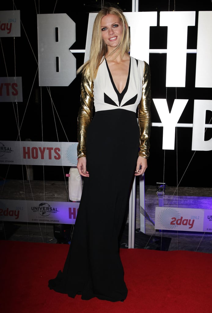For the Australian premiere, Brooklyn chose this metallic-sleeved black and white J. Mendel gown.