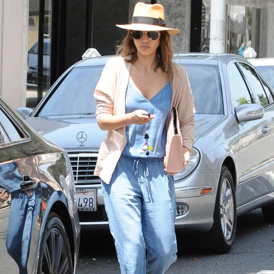 Jessica Alba Chambray Denim Jumpsuit