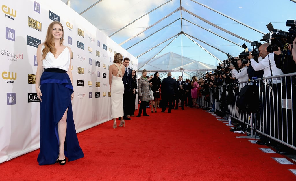 Amy Adams wore a blue and white gown on the red carpet.