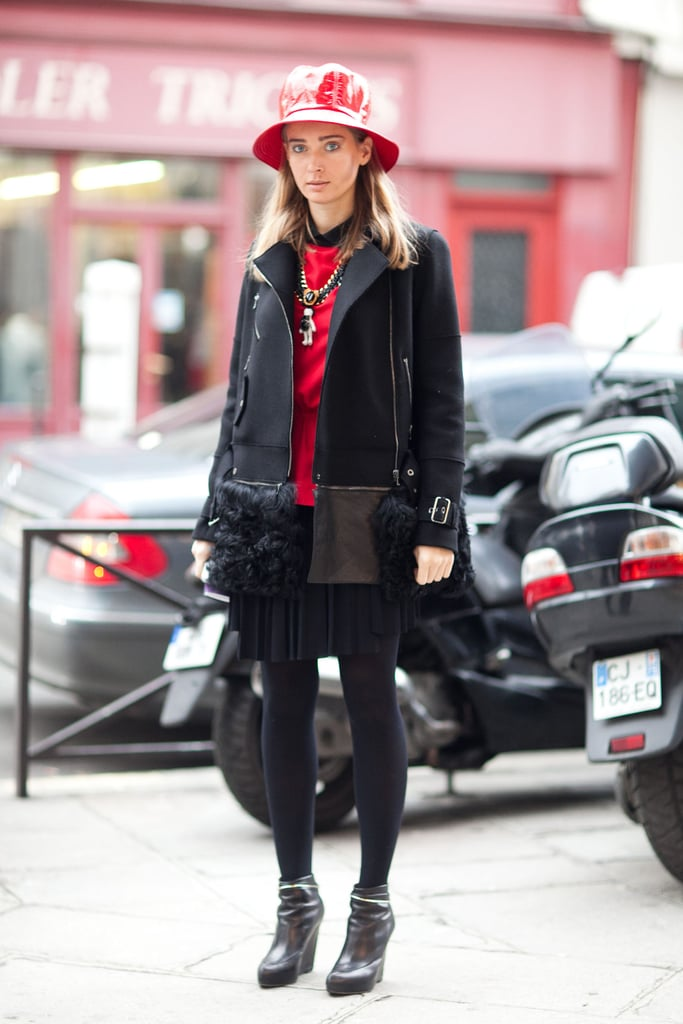 A luxe bit of outwear and a unique coat gave this look an eye-catching finish. Source: Adam Katz Sinding