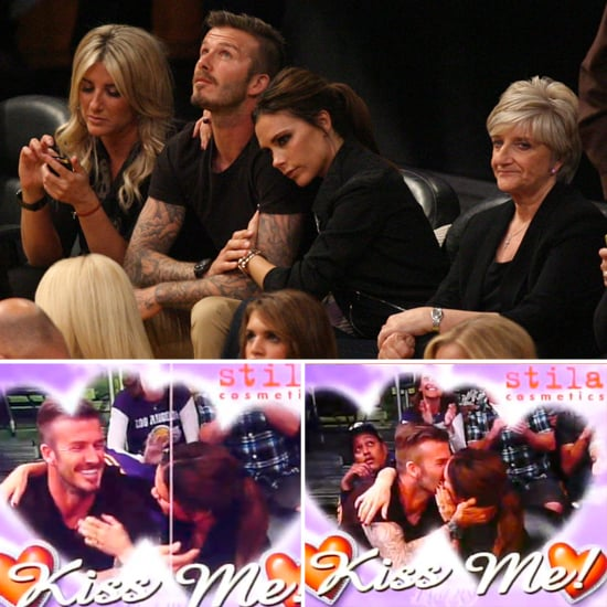 David and Victoria Celebrate His 37th With Kisses at the Lakers