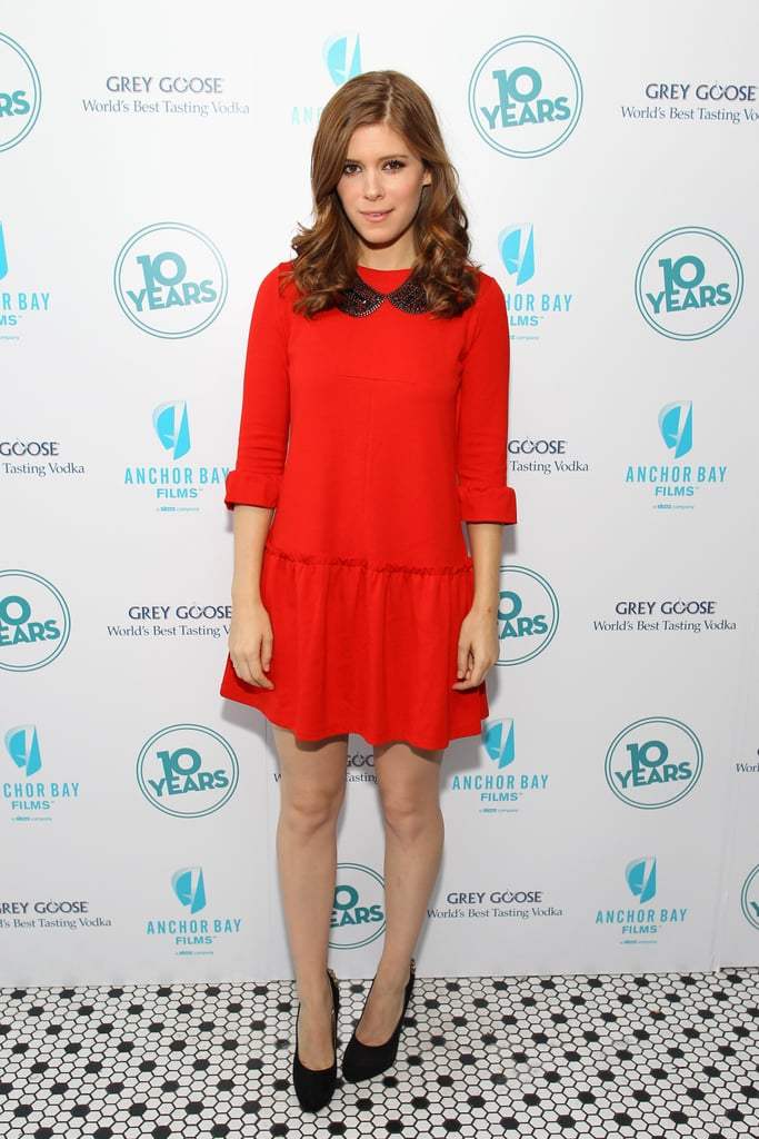 Kate Mara was red-hot and cute as a button in this Miu Miu dress, Dannijo collar necklace and simple pair of Brian Atwood heels.