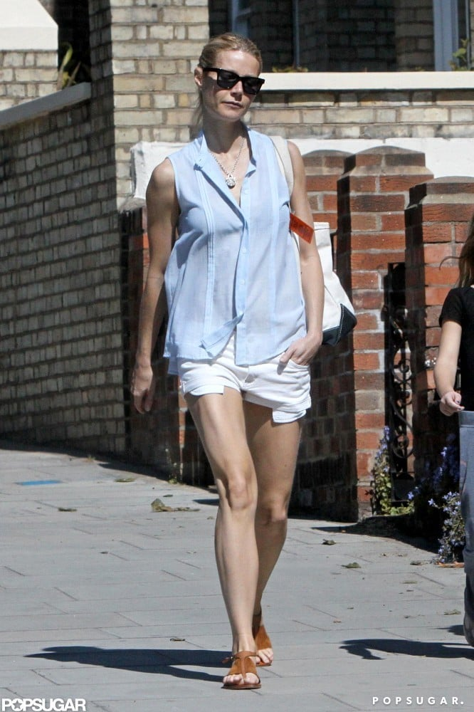 Gwyneth Paltrow wore a light blue tank and white shorts for a stroll in London.