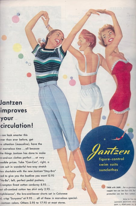 """Jantzen improves your circulation!"" So that you can dance around in a circle with your friends in your underwear."