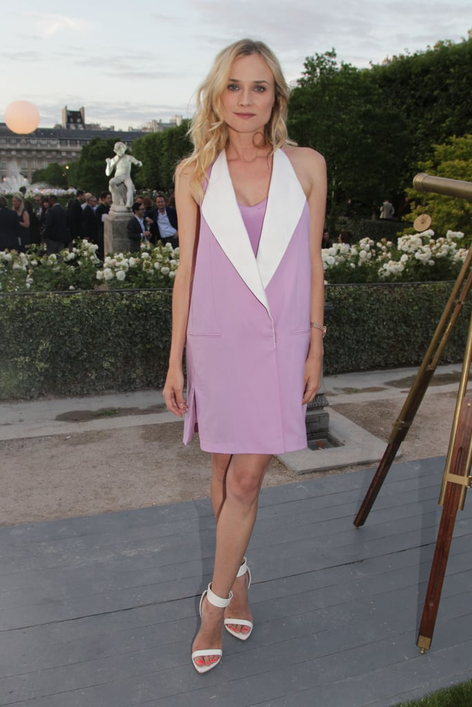 Her lilac-hued 3.1 Phillip Lim tuxedo dress went perfectly with her white Givenchy sandals earlier this month.