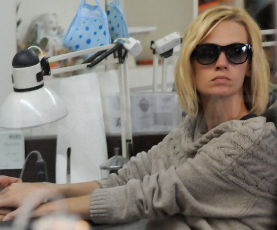 Slide Picture of January Jones Getting Nails Done in LA